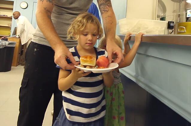 feeding hungry girl