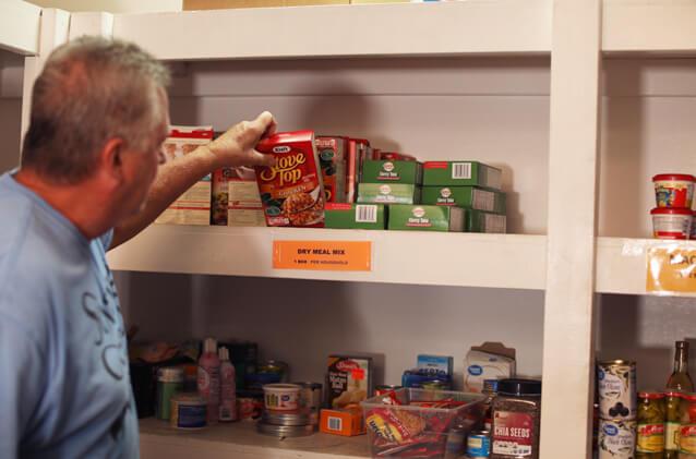 food on shelf in pantry